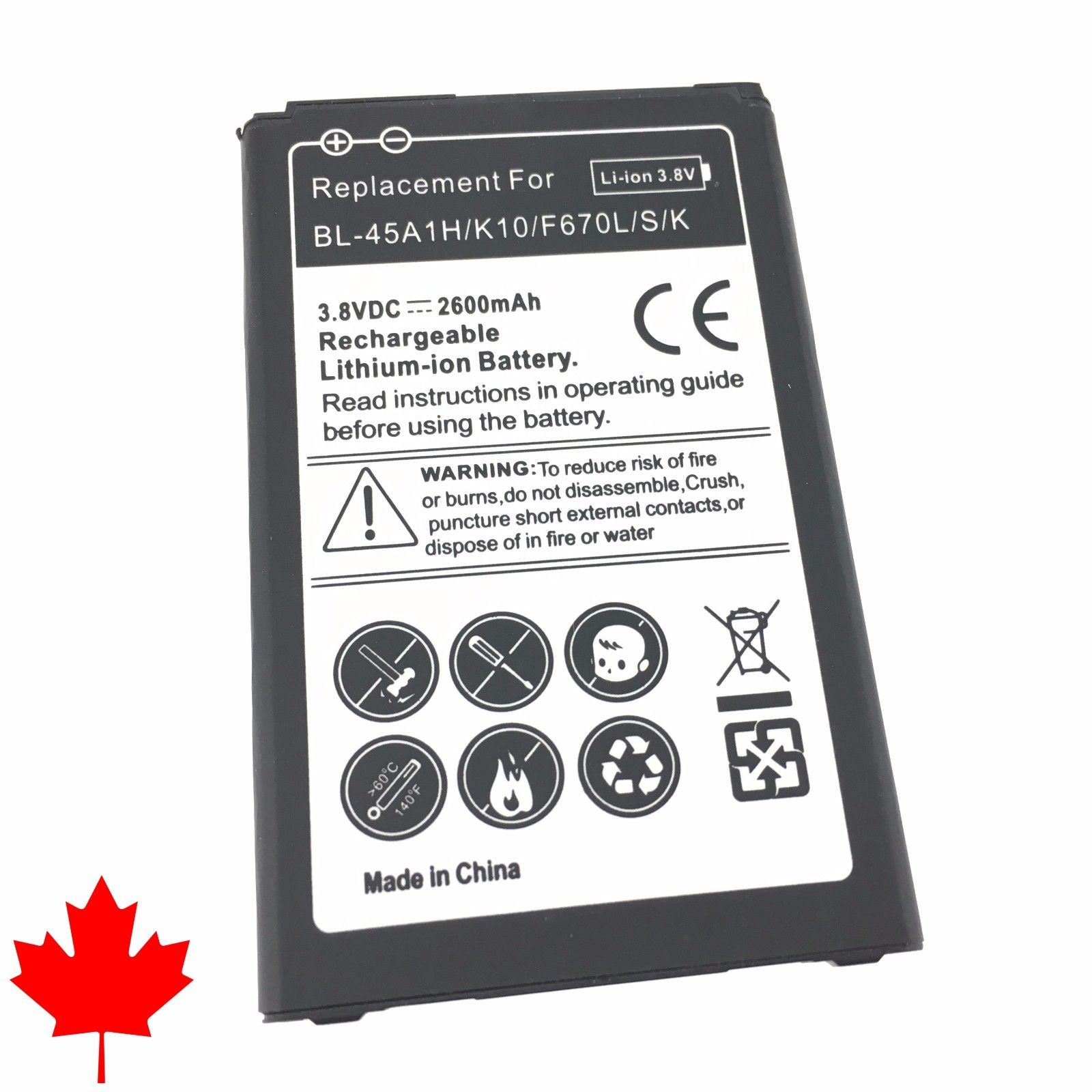 LIVEDITOR NEW LG K10 Replacement Battery F670L BL-45A1H (2016) 2600mAh - image 2 of 2