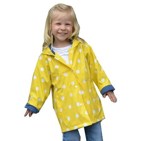 - Foxfire Little Girls Yellow White Polka Dotted Print Trendy Raincoat 1T-6