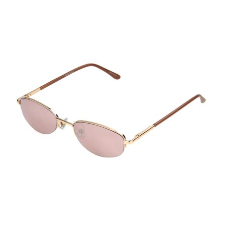 Foster Grant Women's Rose Gold Mirrored Narrow Oval Sunglasses L01 ()