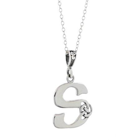 Celtic Initial Letter S Pendant Necklace - 925 Sterling Silver - Celtic Knot Initial 925 Silver Celtic Knot