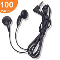 Bulk Earbuds Earbud Headphones Wholesale Ear Buds in Classroom Disposable Earphones Lot Kids Pack for Headphone Set Over Black Multipack of Student School Supplies Mp3 Wrapped Black (100 Pack)