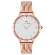 Charlotte minimalist rose gold womens watch with 14mm rose gold metal mesh interchanageable watch band CH001