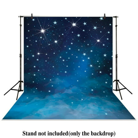 GreenDecor Polyster 5x7ft Photography Backdrop Space evening blue sky stars shine Galaxy newborn baby background props photocall photobooth photo studio (Sky Backdrop)