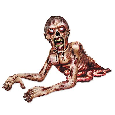 Club Pack of 12 Jointed Spooky Zombie Crawler Halloween Hanging Decorations 4.5' - Club Crawlers Halloween