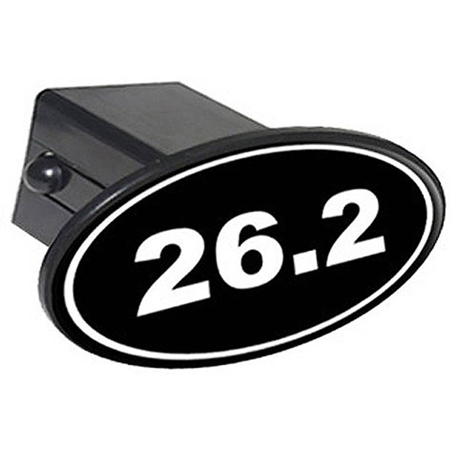 """26.2 Marathon Running Euro Oval White On Black 2"""" Oval Tow Trailer Hitch Cover Plug Insert by Graphics and More"""