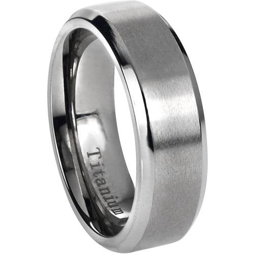 Daxx Men's Titanium Brushed Center Beveled Edge Ring