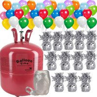"""Helium Tank + 50 Multi Color balloons + 12 Balloon Weights, 5.5"""", 5.7 oz + White Curling Ribbon 