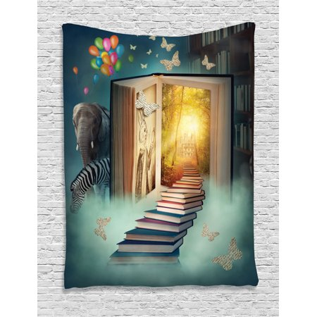 Fantasy House Decor Wall Hanging Tapestry, Upstairs To The Magic Book Land Forest With Balloon Zebra Elephant Butterflies, Bedroom Living Room Dorm Accessories, By Ambesonne (Butterfly Cotton Tapestry)