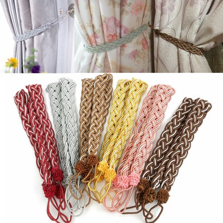 Knit Tie Back (Meigar 2Pcs House Window Curtain TieBacks Vintage Knitted Braided Curtain Cord Rope Buckle Fringe Tie Backs Home Decor,Pink color)