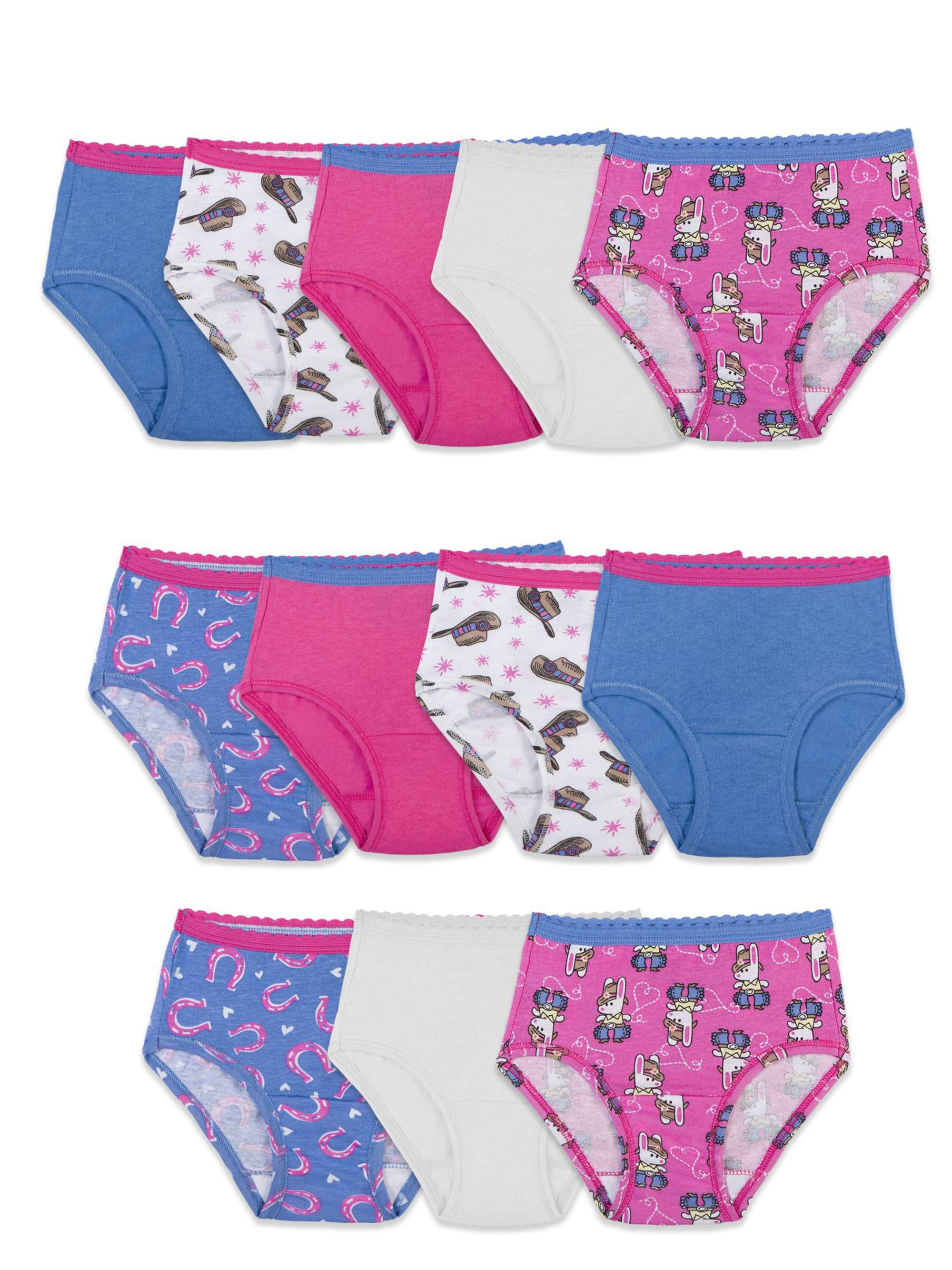Assorted Color Cotton Briefs, 12 Pack (Toddler Girls)