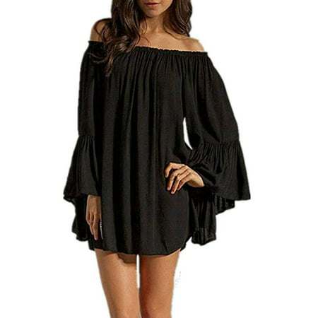 Women's Sexy Off Shoulder Chiffon Boho Ruffle Sleeve Blouse Mini (Chiffon Ruffle Front Dress)