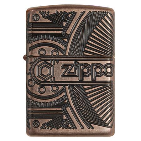 Zippo Gear Armor Antique Pocket Lighter Armor Brushed Chrome Zippo Lighter