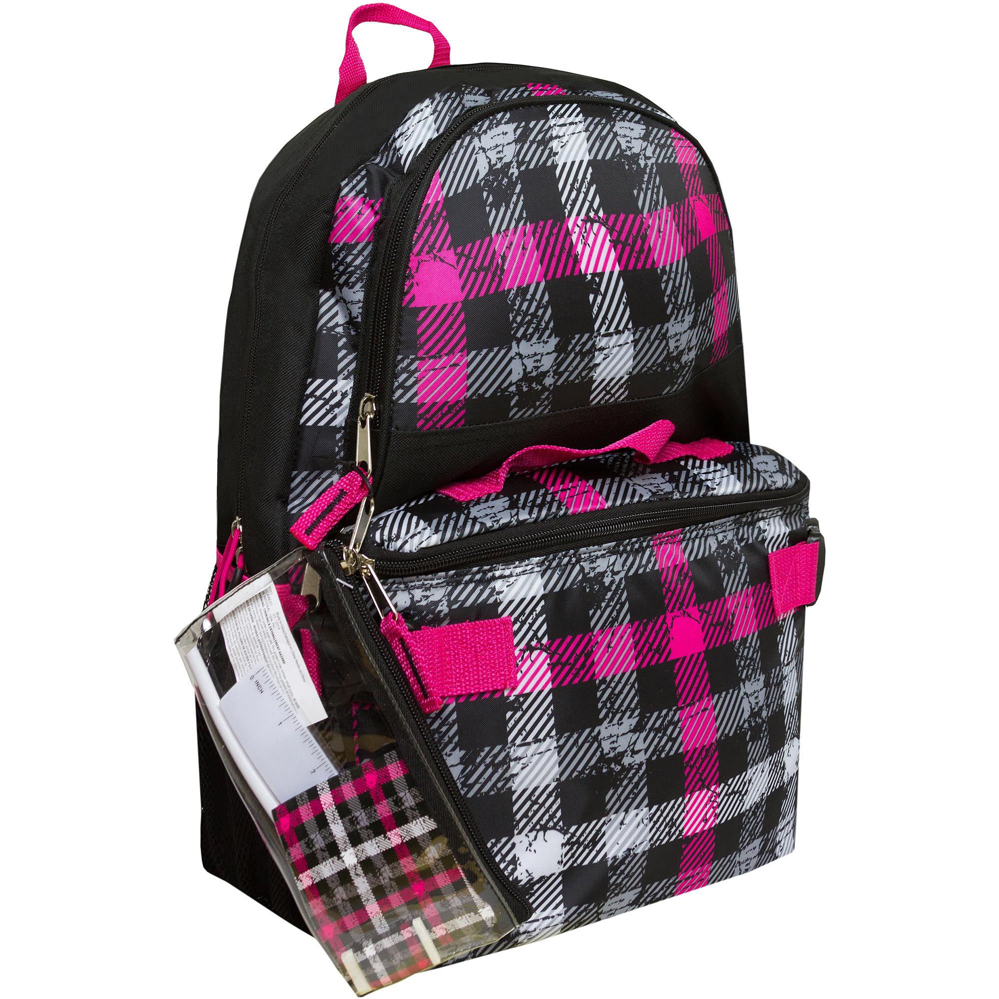 """Triple Pocket 17"""" Plaid Print Backpack with Pencil Case and Lunch Bag"""