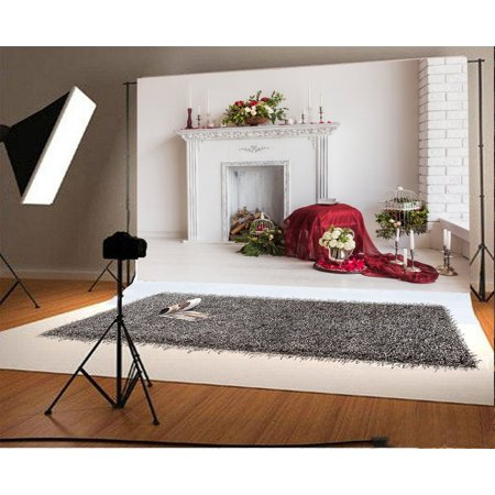 HelloDecor Polyster 7x5ft Photography Backdrop Interior Decorations Decorative Fireplace and Floral Compositions on Wooden Floor Scene Photo Background Children Baby Adults Portraits Backdrop On Fire Photo