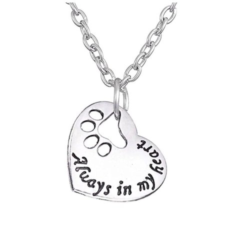 Always in my heart Dog Paw Print Heart Stainless Steel Non-tarnish Necklace Ginger Lyne Collection