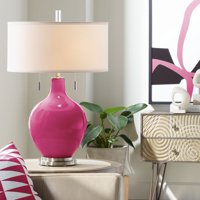 Color Plus Modern Table Lamp Vivacious Pink Glass Gourd White Drum Shade for Living Room Family Bedroom Bedside Nightstand Office
