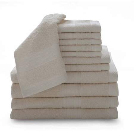 100% Ring-spun Cotton Luxury 12-Piece Towel Set Collection with Bath
