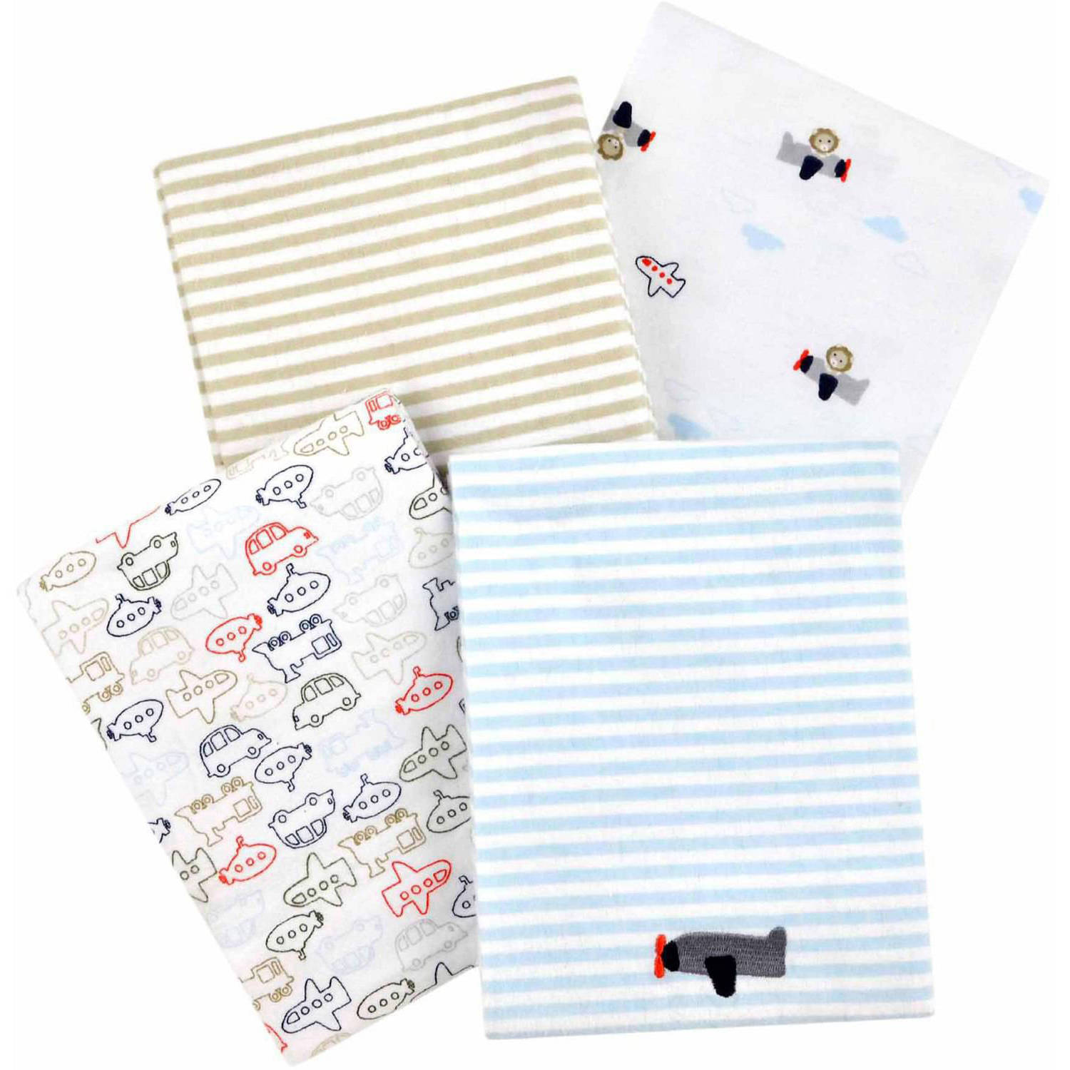 Child of Mine by Carter's Transportation 4-Pack Flannel Receiving Blankets