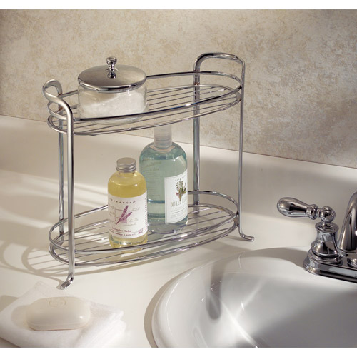 InterDesign Axis Free Standing Bathroom Storage Shelves for Towels, Soap, Candles, Tissues, Lotion, Accessories, 2 Tiers, XL, Chrome