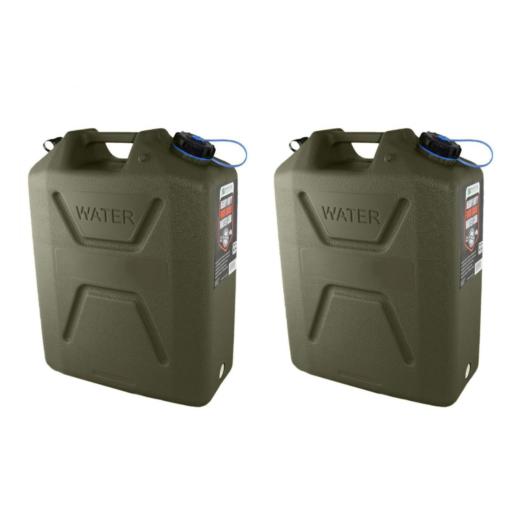 Wavian USA 5 Gallon Plastic Water Jug Can with Easy Pour Spout, Green (2 Pack)