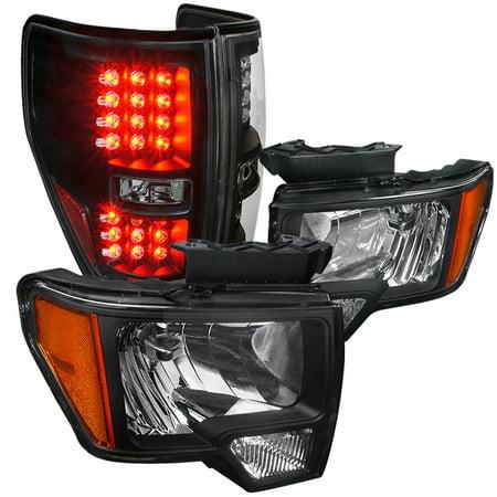 Lights Jdm Black Housing - Spec-D Tuning For 2009-2014 Ford F150 Jdm Black Housing Headlights + Led Brake Tail Lamps Parking Brake Lights (Left+Right) 2009 2010 2011 2012 2013 2014