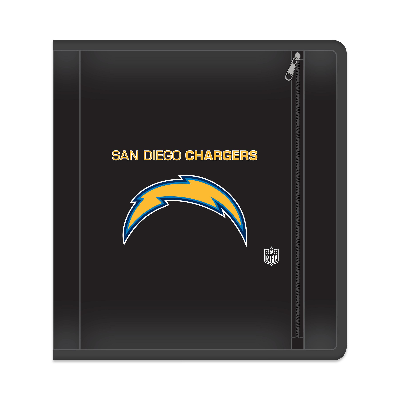 "NFL San Diego Chargers Zippered 3 Ring Binder, 250 Sheet Capacity, 1.625"" Metal Rings"