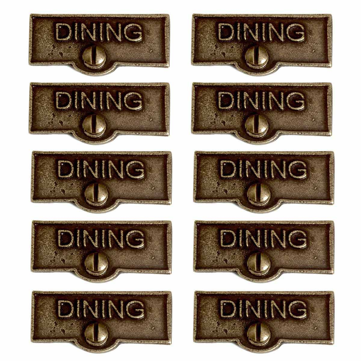 10 Switch Plate Tags DINING Name Signs Labels Cast Brass ...