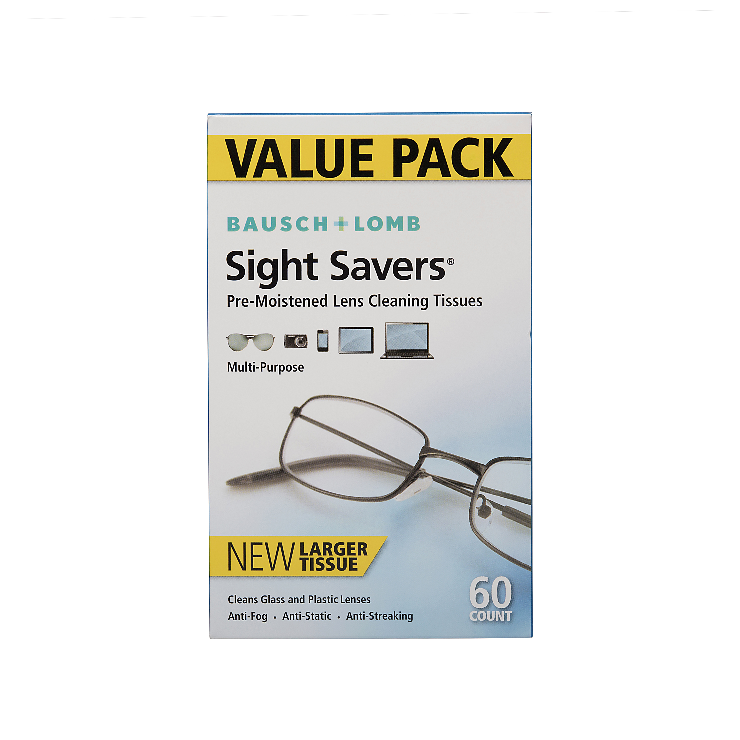 Bausch & Lomb Sight Savers Pre-Moistened Lens Cleaning Tissues, 60 sheets