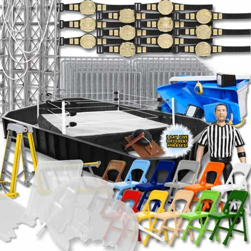 Super Deluxe Wrestling Action Figure Ring & Accessories Special Deal For WWE Wrestling... by Figures Toy Company