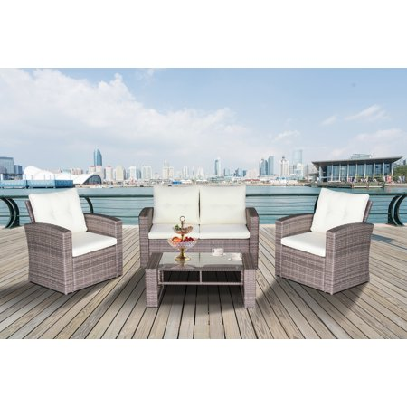 Magari Furniture N88 4-Piece Complete Outdoor Furniture Seating Patio Cushion Resin Wicker Rattan Garden Iron Frame Set with Cream Cushions, Grey ()