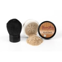 Sweet Face Minerals 2 Pc Foundation Kabuki Kit Mineral Makeup Set Bare Skin Sheer Powder Cover (Light Tan)