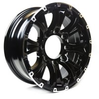 "Viking Series Machined Lip Gloss Black Aluminum HD Trailer Wheel with Chrome Cap - 16"" x 6.5"" 8 On 6.5 - 4450 LB Load Carrying Capacity - 0 Offset"