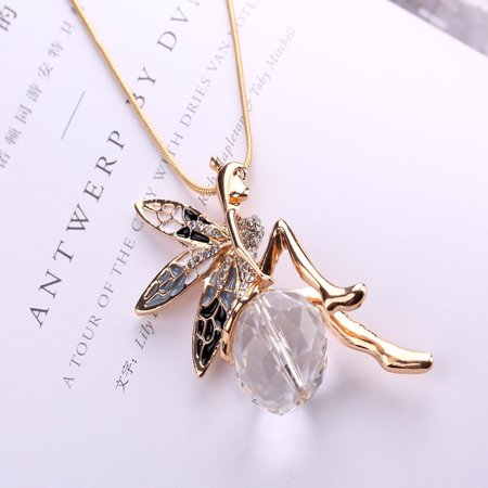 Lovely Butterfly Angel Wings Crystal Necklace Long Chain Jewelry