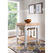 Powell Color Story Black Butcher Block Kitchen Island, Multiple Finishes