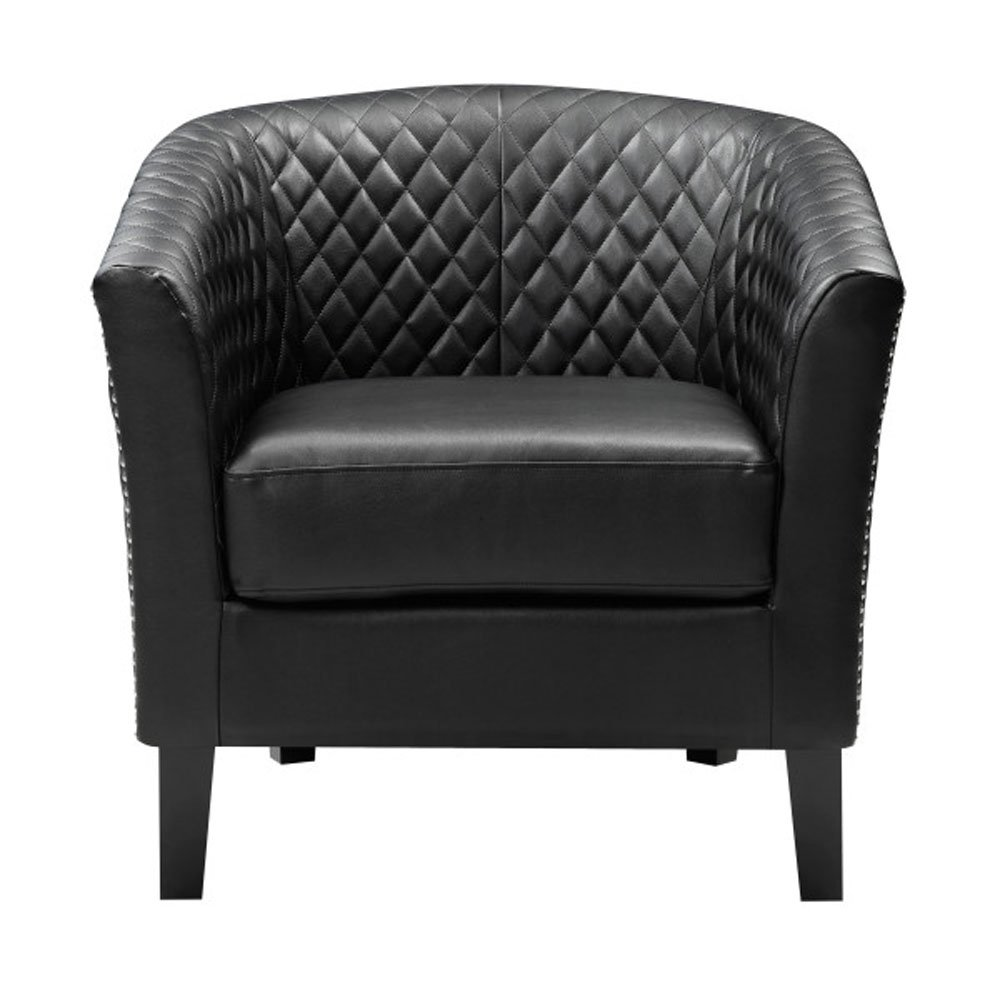 Accentrics Home Faux Leather Modern Vintage Inspired Accent Armchair, Black by Accentrics Home