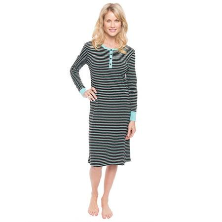 Jersey Nightshirt - Women's Double Layer Jersey Sleep Dress - Stripes Black/Aqua - Medium