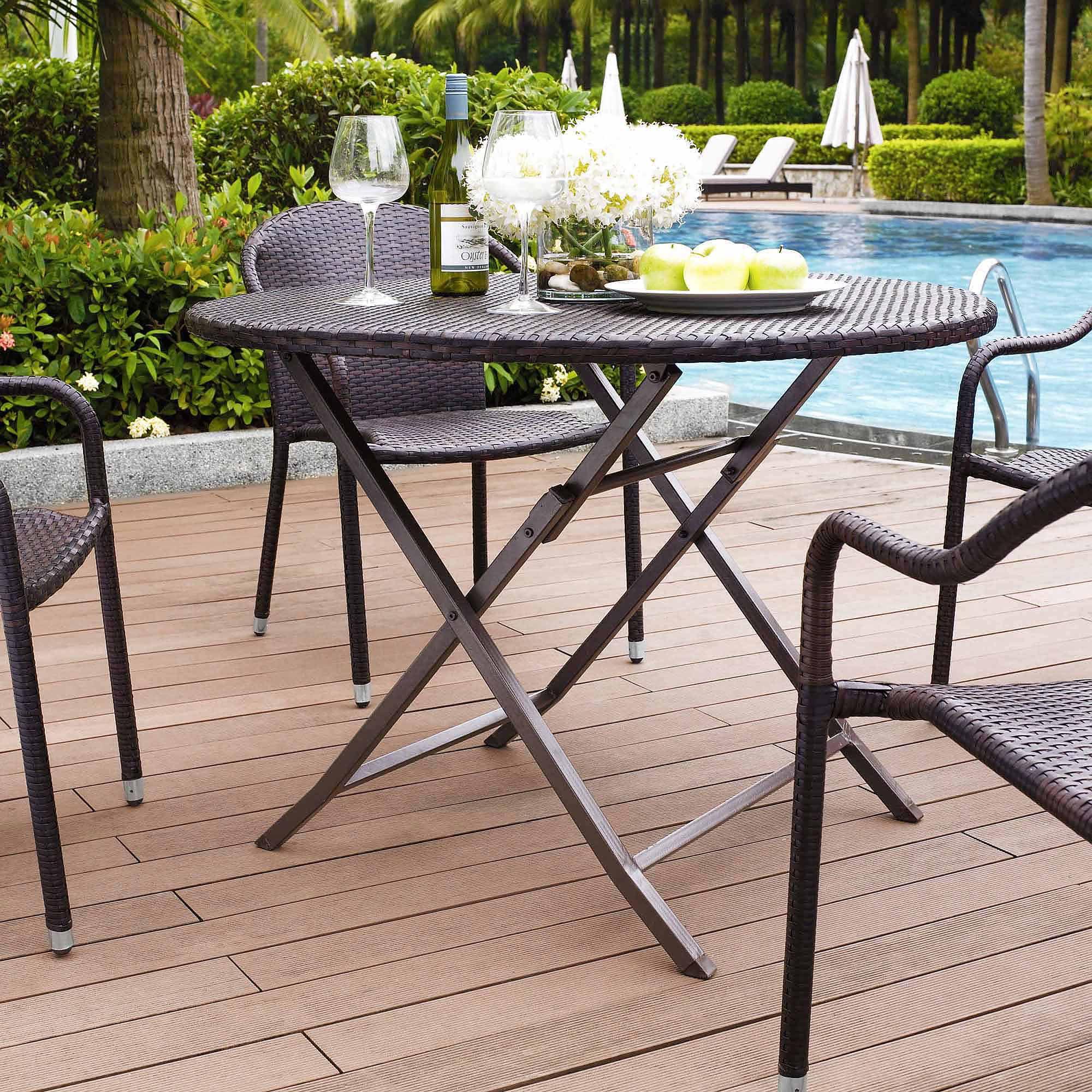 Crosley Furniture Palm Harbor Outdoor Wicker Folding Table ...