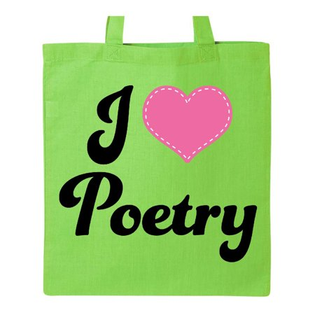 I Love Poetry Tote Bag Lime Green One Size ()