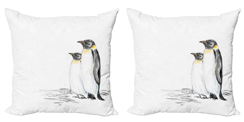 Sea Animals Throw Pillow Cushion Cover Pack Of 2 Hand Drawn Art Penguins Aquatic Flightless Birds Polar South Pole Wildlife Zippered Double Side Digital Print 4 Sizes Black White By Ambesonne Walmart Com