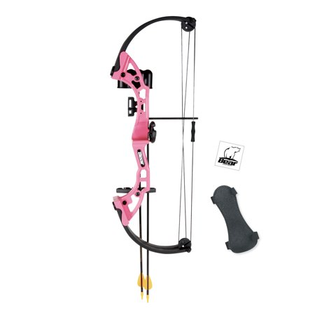 Youth Longbow (Bear Archery Brave Youth Bow Includes Whisker Biscuit, Arrows, Armguard, and Arrow Quiver Recommended for Ages 8 and Up – Pink )