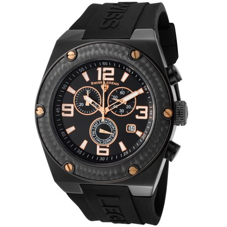 Swiss Legend 30025-Bb-01-Ra Throttle Chrono Black Silicone, Dial And Ip Ss Rose-Tone Accent Watch