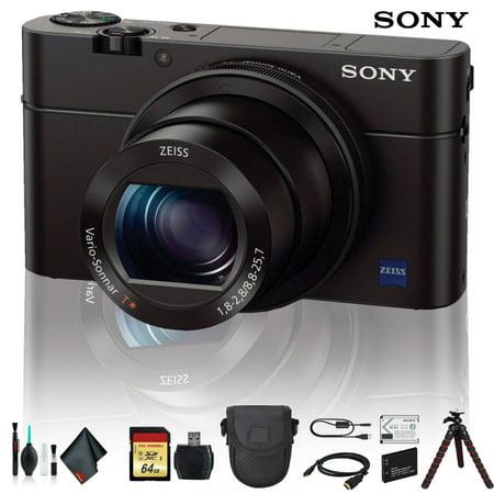 Sony Cyber-shot DSC-RX100 IV Camera DSCRX100M4/B With Soft Bag, Tripod, Additional Battery, 64GB Memory Card, Card Reader , Plus Essential Accessories