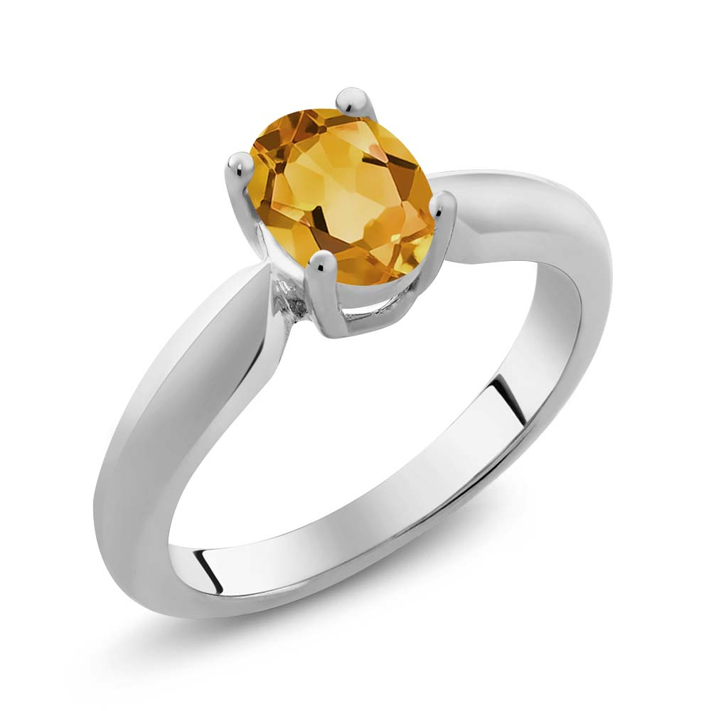 0.60 Ct Oval Yellow Citrine Sterling Silver Ring