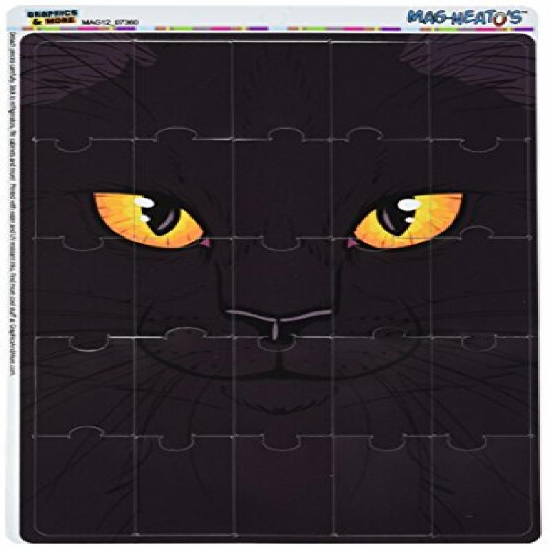 Graphics and More Black Cat Face Pet Kitty Halloween Mag-...