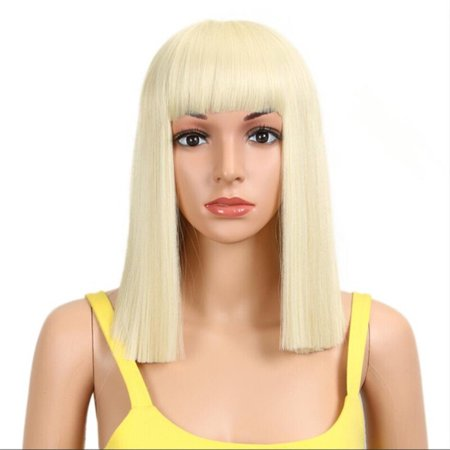 Noble Synthetic Wig /613 Short Wig Straight 14 Inch Blonde Wig Cosplay Hair Synthetic Lace Front Wig