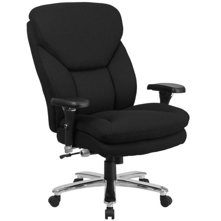 24/7 Intensive Use Big & Tall 400 lb. Rated High Back Black Fabric Executive Ergonomic Office Chair with Lumbar Knob and Large Triangular Shaped Headrest ()