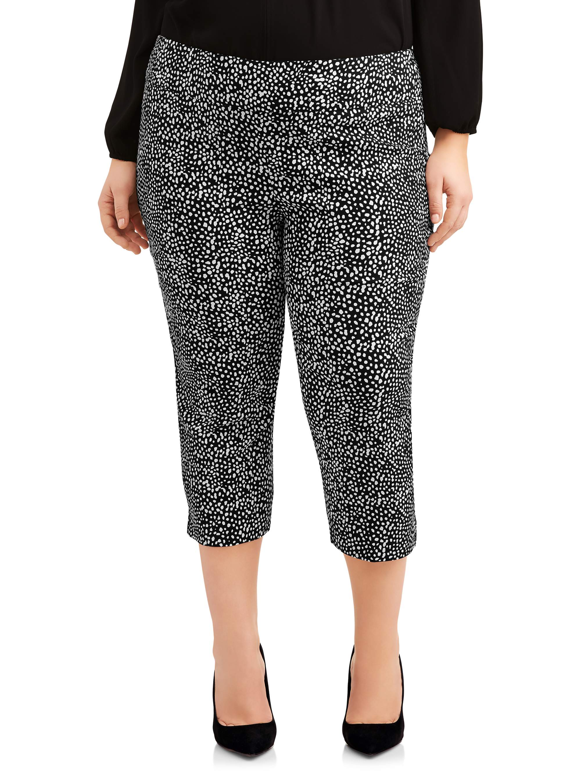 Women's Plus Size Black and White Stretch Woven Ankle Pant