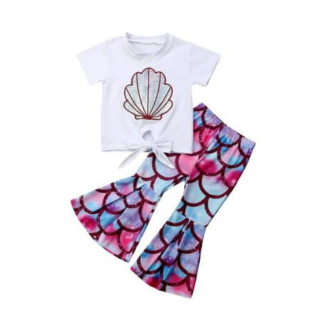 Toddler Kids Baby Girl Mermaid Tops T-Shirt Flared Pants 2PCS - Mermaid Outfit