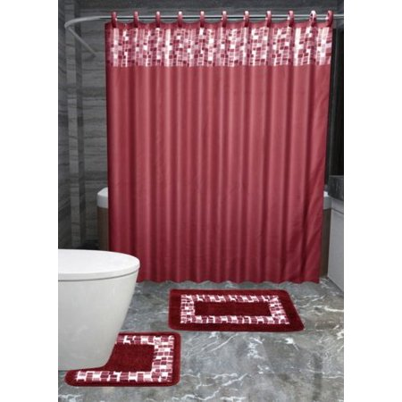 15pc BURGUNDY MOSAIC Bathroom Set Printed Banded Rubber Backing Rug Bath Mats With Fabric Shower Curtain And Covered Hooks