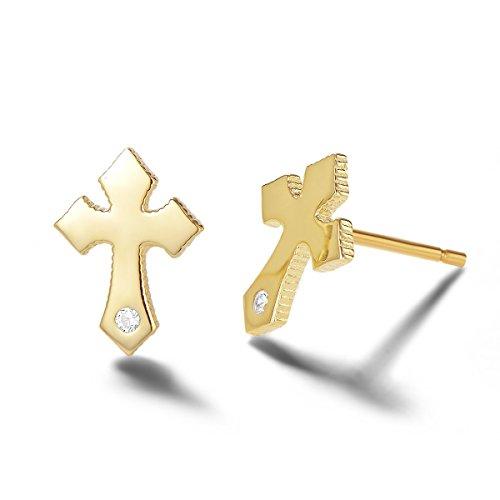 Cross earrings Small Cross stud earrings Gold cross earrings Tiny earrings Dainty earrings Delicate earrings Gift for her Gold jewelry